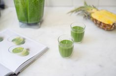 Green Smoothie from 101 Cookbooks- The green smoothie recipe from Tara O'Brady's new cookbook. An invigorating, bottom's up, morning kickstarter made from kale, almond butter, almond milk, banana, and pineapple.