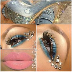 Denim inspired blue eye shadow enhanced with sparkling gems and a pretty pink lip by 'Makeup by Cari'. Beauty Makeup, Hair Makeup, Hair Beauty, Makeup Art, Diamonds And Denim Party, Diamond Clothing, Jewel Makeup, Crystal Makeup, Face Rhinestones