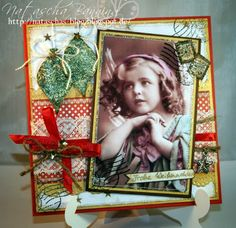 photocard using several stamps for embelishing and the corners