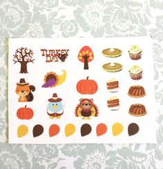 Planner sticker sheet Cute Thanksgiving set of by BelleandBlakeCo