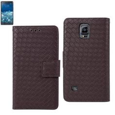 Reiko Wallet Case 3 In 1 For Samsung Galaxy Note Edge Braided Pattern Brown
