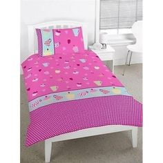 Girls Tea Party Cup Cakes Single Doona Quilt Cover & Pillowcase set ~ Available at Kids Mega Mart Shop Australia