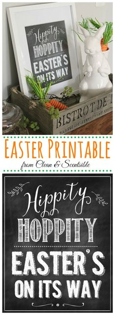 Cute chalkboard Easter printable and Easter decor ideas! // cleanandscentsible.com