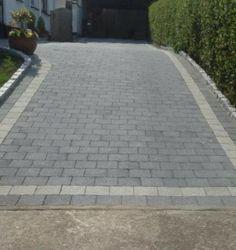 dark grey driveway with red brick edging Driveway Blocks, Block Paving Driveway, Permeable Driveway, Driveway Border, Stone Driveway, Driveway Landscaping, Driveways, Patio Stone, Front Garden Ideas Driveway
