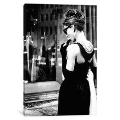 iCanvas Breakfast At Tiffany's Series: Audrey Hepburn Window Shopping I by Radio Days Canvas Print