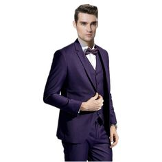 2e96cf6b42498e Find More Suits Information about Fashion men leisure suit three piece  elegant pure purple men leisure