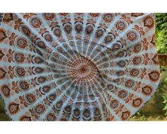 Indian White Peacock Round Roundie Mandala Boho Tapestry, used tapestry as beach towel wall hanging, yoga mat, bed sheet to bring a feel of spring to your interiors.