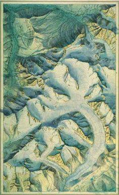 Eduard Imhof,Jungfrau Group and Aletsch Glacier,1929.+(viaalloftheextremes)
