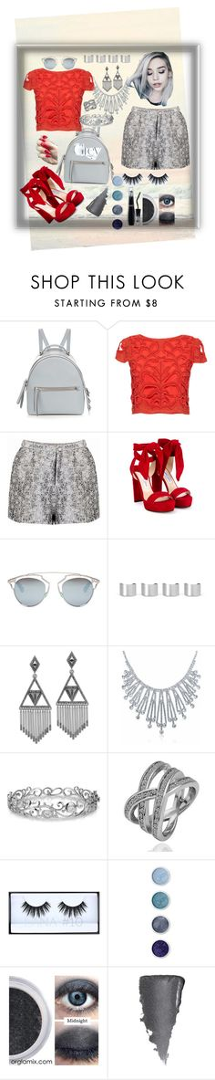 """""""grey with red ?"""" by sirine4hidjab ❤ liked on Polyvore featuring Fendi, Alice + Olivia, Jimmy Choo, Christian Dior, Maison Margiela, House of Harlow 1960, Bling Jewelry, Effy Jewelry, Huda Beauty and Terre Mère"""