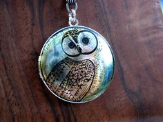 Silver Wise Owl Locket Necklace Enamel by ArtInspiredGifts