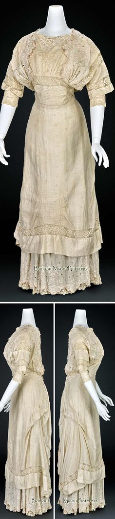 Dress, American, ca. 1900. Cotton, linen, silk.