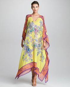 Cutout-Shoulder Caftan, Lemon by Etro. I'm loving Etro's caftan's this season, although worn wrong, they could be a bit Mrs. Roperish...but they are beautiful and a perfect beach cover up! Three's company with me, my swimsuit and Etro!