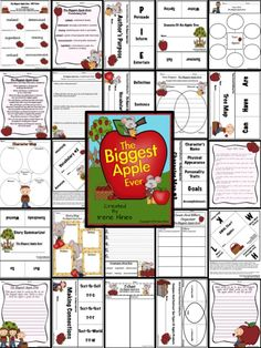 """The Biggest Apple Ever ~ Book Written By Steven Kroll. This September and Back To School Unit has 143 pages of ideas, activities, printables, graphic organizers and foldables that correlate with the book """"The Biggest Apple Ever."""" Perfect for the season of autumn or a thematic unit on apples! $"""