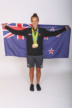 Lisa Carrington poses for a portrait with her Olympic K1 Kayak Gold and Bronze medals during the New Zealand Olympic Games athlete home coming at The Cloud on August 24, 2016 in Auckland, New Zealand.