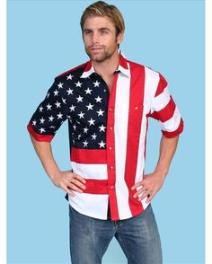 For my Beau Men's Short Sleeve Patriot Flag Shirt