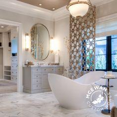 We love this fabulous master bathroom spa by McEwan Custom Homes, using the MTI Juliet freestanding tub. Master Suite is the winner of 2015 Utah Parade of Homes.