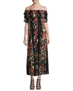 FUZZI Floral Off-The-Shoulder Ruffled Maxi Dress, Black. #fuzzi #cloth #
