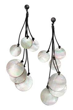 Shell earrings: Long earrings with round shell pendants. Length 14.5 cm.