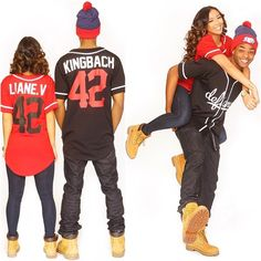 Liane V King Bach His Her Couple Love Vine Relationship Timberland Boots Football Shirt Matching Outfits Bobble Hat Cute Couple Style, Couple Goals, Couple Relationship, Cute Relationship Goals, Cute Relationships, Matching Couple Outfits, Matching Couples, Matching Clothes, Fashion Couple