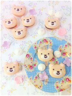 Cherie Kelly's Teddy Bear Chocolate Ganache Macarons // Cute for a Baylor baby shower!