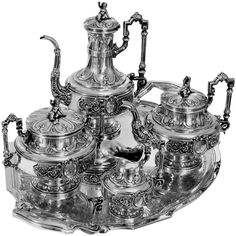 Boulenger Fabulous French All Sterling Silver Tea & Coffee Service 5 pc Putti 1890