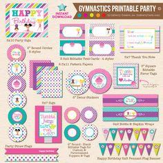 Cartwheels & Cupcakes Girls Gymnastics Birthday by inkberrycards