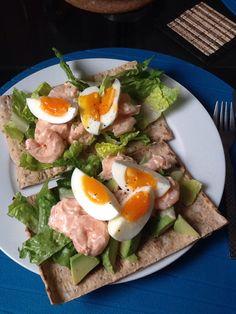 Sunday lunch - prawn, egg and avocado open sandwich