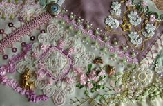 ❤ crazy quilting, beading & ribbon embroidery . . . A wedding block for my daughter's friend. ~By Rengin Kutbay Yazitas