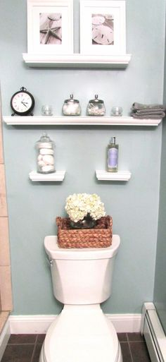 bathroom wall decoration.....except all shelves the same length