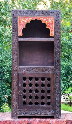 Code: TM-053 Swati hand-carving and paint work on Almirah, made of Kail wood, 3 shelf.  Size: H 49 x W 22  PKR 12,000 USD 120$, Shipment cost on actual.