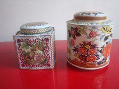 Pair of Vintage Floral Pastoral Daher Tins