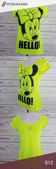 """Disney Minnie Mouse T Shirt? Sz L Bust: 34"""" Waist: 34"""" Hip: 36"""" Length: 25"""" Thin, lightweight t-shirt fabric Neon yellow & black Scoop back neckline  201528 Disney Tops Tees - Short Sleeve"""