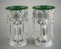 Pair of Czech Bohemian Glass Lusters.  Lovely cut windows with gold embellishment.