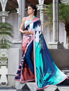 Multi Color Satin Georgette Printed Saree