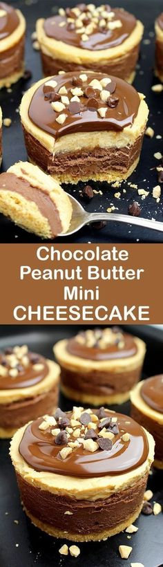 No Bake Chocolate Peanut Butter Mini Cheesecake. Chocolate and peanut butter. Do you like this combination? If your answer is yes, we have an awesome dessert for you – No Bake Chocolate Peanut Butter Mini Cheesecake ♥️ Mini Desserts, Chocolate Desserts, No Bake Desserts, Easy Desserts, Delicious Desserts, Dessert Recipes, Yummy Food, Baking Recipes, Chocolate Chocolate