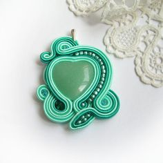 Mint green heart soutache pendant soutache jewelry for by Savvanah, $39.00