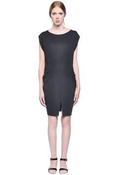 Camden Dress by Valerie Dumaine. Jersey dress with floating sides and draped pockets.