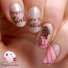 "PiggieLuv: ""Happy girls are the prettiest"" freehand nail art"