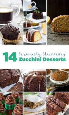 14 Seriously Stunning Zucchini Desserts that will make you absolutely fall in love with summer's most plentiful vegetable! Unique Desserts, Fun Desserts, Delicious Desserts, Yummy Treats, Top Recipes, Best Dessert Recipes, Sweets Recipes, Zucchini Desserts, Fun Cooking