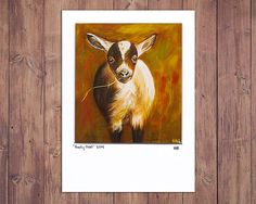 Goat Art Print Matted to fit a 5x7 frame, goat painting, farm decor, farm art, farm painting, oil painting, goat art, wall art, giclee