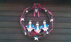 Barbwire Snowman Wreath for Jen