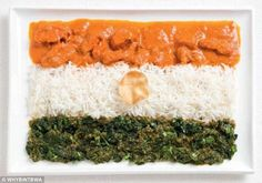A taste of India: India's colourful flag brightens up the plate with curry, rice, vegetables and poppadum