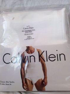 New Calvin Klein 3 Pack Men's Ribbed Tank T-Shirts Classic Fit White X Large