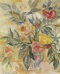 Natalia Goncharova, Roses in a Vase