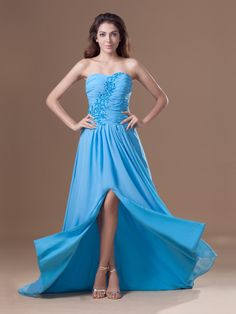 Chiffon Sweetheart Strapless Embroidery A-line Prom Dress at nextdress.co.uk