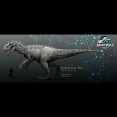 Jurassic World Diabolus / Indominus Rex leak-  Info: The Diabolus/ Indominus Rex is a new dinosaur attraction at Jurassic World. Its a hybrid dinosaur made from theropod dinosaurs such as Carnotaurus, Majungasaurus, Rugops and Giganotosaurus DNA . It's highly intelligent, has more teeth than a T-Rex, and is very fast much like the velociraptors in the Jurassic Park franchise.