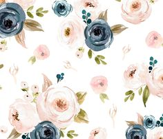 Blush Pink and Blue Floral custom fabric by hudsondesigncompany for sale on Spoonflower Floral Bedroom, Floral Nursery, Blush And Gold, Blush Pink, Blue Floral Wallpaper, Fabric Wallpaper, Flower Wallpaper, Blue Wallpapers, Iphone Wallpapers