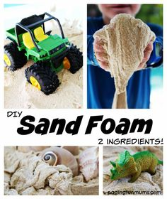 shaving cream and 3 cups sand-Recipe for Play - Make Sand Foam with just 2 ingredients. I can see toddler, preschool, and kindergarten kids really enjoying this sensory play kids activity. Projects For Kids, Diy For Kids, Cool Kids, Crafts For Kids, Kids Fun, School Projects, Rainy Day Activities, Sensory Activities, Toddler Activities