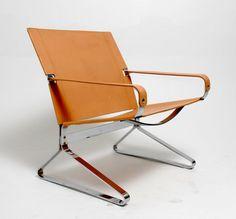 Danish Modern Chromed Steel & Leather Sling by RevolverSeattle, $795.00