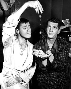 Dean Martin and Jerry Lewis in their dressing room, circa 1951